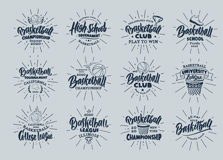 Set of vintage Basketball emblems and stamps. Basketball club, school badges, templates and stickers with rays. Collection of retro sport with hand-drawn phrases. Vector illustration.  イラスト・ベクター素材