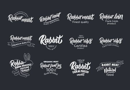 Set of vintage Rabbit and meat emblems and stamps. Colorful badges, templates and stickers on gray background. Collection of retro with hand-drawn text and phrases. Vector illustration