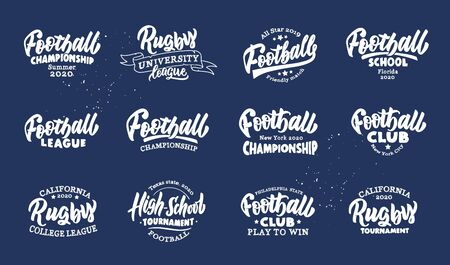 Set of vintage Football emblems and phrases. Sport white badges, templates and stickers for Football club, school, league. Collection of retro with hand-drawn text. Vector illustration 일러스트