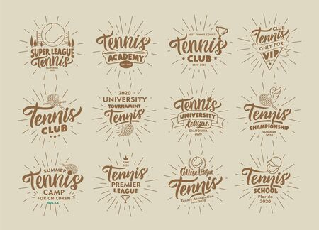 Set of vintage Tennis emblems and stamps. Sport badges, templates and stickers for Tennis club, school. Collection of retro with rays, hand-drawn text and phrases. Vector illustration