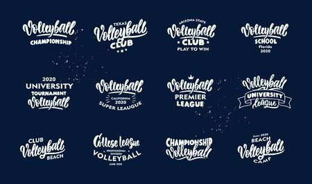 Set of vintage Volleyball phrases. White emblem, badges, templates and stickers for Volleyball club, school on blue background. Collection of retro with hand-drawn text. Vector illustration