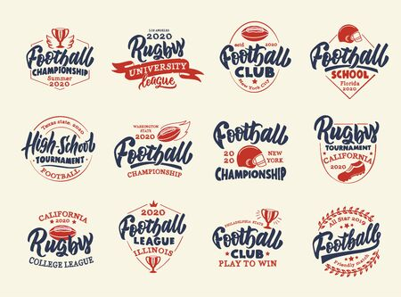 Set of vintage Football emblems and stamps. Sport colorful badges, templates and stickers for Football club, school, league. Collection of retro with hand-drawn phrases. Vector illustration