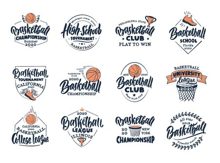 Set of vintage Basketball emblems and stamps. Basketball club, school, league badges, templates and stickers. Collection of retro sport with hand-drawn text and phrases. Vector illustration