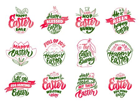 Set of vintage Happy Easter emblems and stamps. Green badges, stickers on white background isolated. Collection of retro with hand-drawn text, phrases. Vector illustration. 일러스트