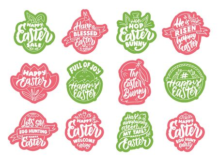 Set of vintage Happy Easter emblems and stamps. Pink and green badges, stickers, patches on white background. Collection of hand-drawn text, icons, phrases. Vector illustration.