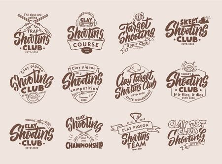 Set of vintage Clay Shooting emblems and stamps. Sports badges, templates and stickers for club. Collection of retro with hand-drawn text and phrases. Vector illustration