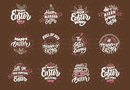 Set of vintage Happy Easter phrases. Emblems, badges, templates, stickers on brown background with rays. Collection of retro with hand-drawn text. Vector illustration
