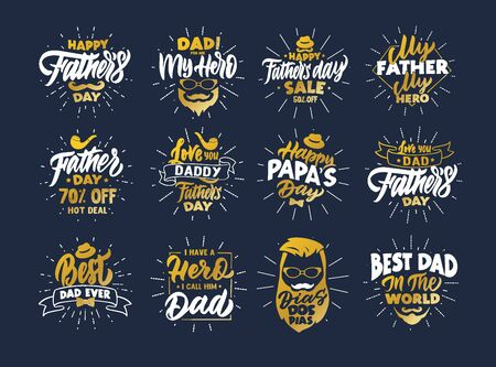 Set of vintage Happy fathers day phrases. Gold emblems, badges, templates, stickers on blue background with rays. Collection of retro with hand-drawn text. Vector illustration Иллюстрация