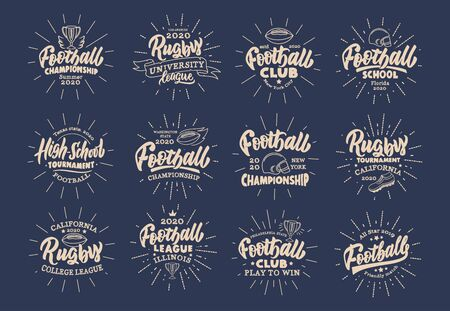 Set of vintage Football emblems and stamps. Sport badges, templates and stickers. Collection of retro with rays, hand-drawn text and phrases. Vector illustration