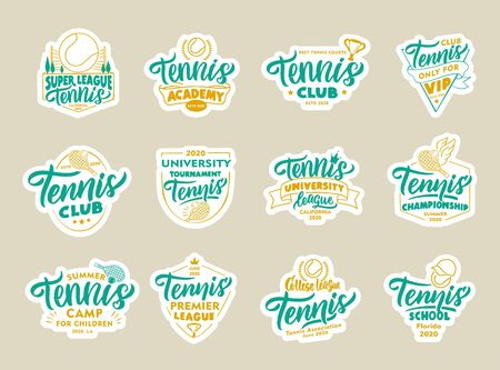 Set of Tennis stickers, patches. Sport colorful badges, emblems, stamps for Tennis club, school. Collection of retro with hand-drawn text, phrases. Vector illustration