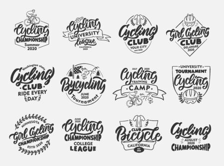 Set of vintage Cycling, Bicycle emblems and stamps. Black sport badges, stickers on white background isolated. Collection of retro with hand-drawn text, phrases. Vector illustration