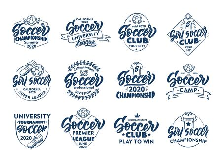 Set of vintage Soccer emblems and stamps. Blue badges, stickers on white background isolated. Collection of retro with hand-drawn text, phrases. Vector illustration