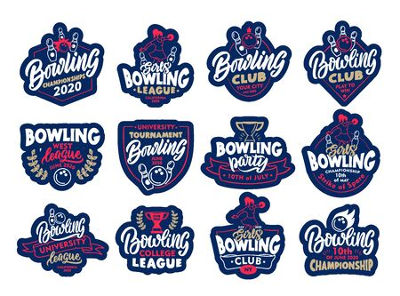 Set of Bowling stickers, patches. Colorful badges, emblems, stamps for club, super league on white background