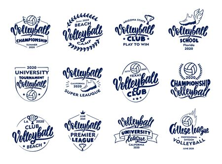 Set of vintage Volleyball emblems and stamps. Blue badges, templates and stickers for club, school on white background.