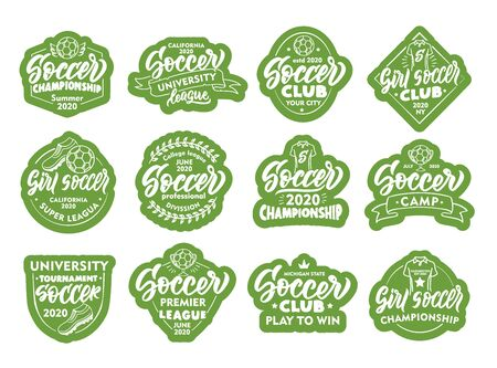 Set of Soccer stickers, patches. Green badges, emblems, stamps on white background.