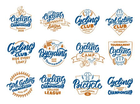 Set of vintage Cycling, Bicycle emblems, stamps. Colorful badges, templates, stickers on white background isolated.