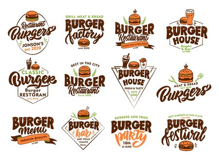 Set of vintage Burger, fast food emblems and stamps. Colorful badges, templates, stickers on white background isolated.