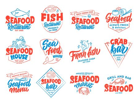 Set of vintage Seafood emblems and stamps. Colorful badges, templates, stickers on white background isolated.