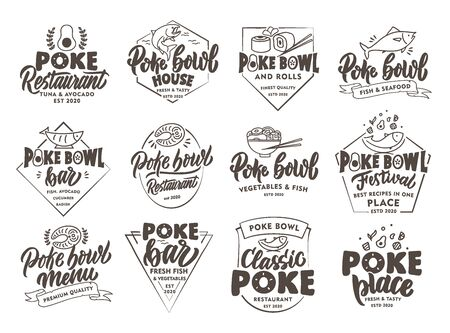 Set of vintage Poke emblems and stamps. Seafood badges, stickers on white background isolated. Collection of retro logos with hand-drawn text, phrases. Vector illustration. Archivio Fotografico - 141929682