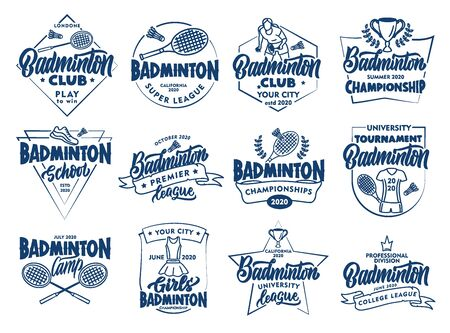 Set of vintage Badminton emblems and stamps. Badges, stickers on white background isolated. Vector Illustratie