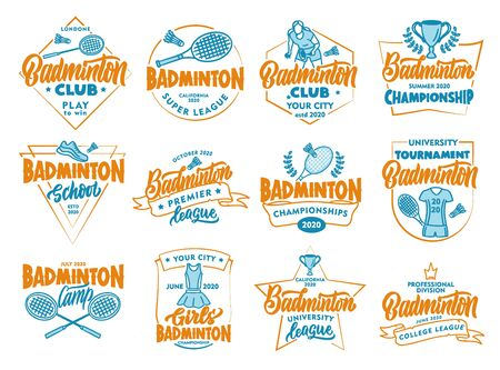 Set of vintage Badminton emblems and stamps. Colorful badges, stickers on white background isolated.