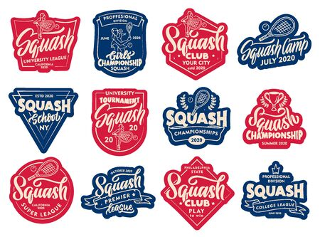 Set of Squash stickers, patches. Colorful badges, emblems, stamps for on white background. Stock Illustratie