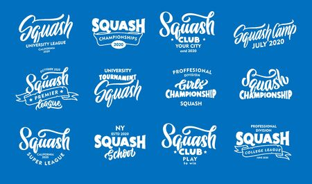 Set of vintage Squash phrases. Emblems, badges, templates, stickers on blue background.