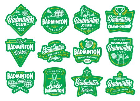 Set of Badminton stickers, patches. Sport badges, emblems, stamps on white background isolated. Vector Illustratie