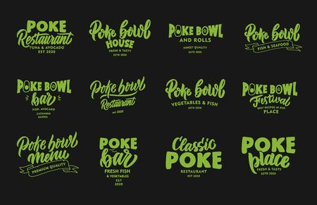 Set of vintage Poke bowl phrases. Green emblems, badges, templates, stickers on black background. Archivio Fotografico - 141930935