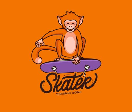 Monkey funny logotype with text, phrase. Sport animal logo and emblem. Jungle macaque character, badge, sticker, label on orange background isolated. Vector illustration  イラスト・ベクター素材