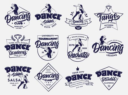 Set of vintage Dancing emblems and stamps. Sport badges, stickers on white background isolated. Collection of Bachata, Salsa, Tango logos with hand-drawn text, phrases. Vector illustration
