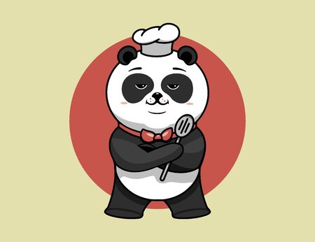 Super chef logo, cooking template, the hero proudly folded his paws. Funny panda character, logotype, badge, sticker, emblem, label on background. Vector illustration