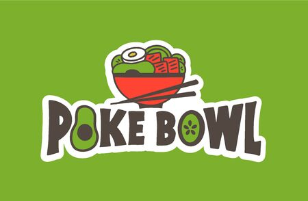 Seafood emblem. Poke bowl badge, sticker on green background isolated. Collection of retro logotype with hand-drawn text, icon. Vector illustration.