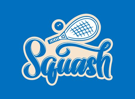 Squash emblem and logotype. Sport badge, sticker on blue background. Retro logo with hand-drawn text, phrase. Vector illustration.