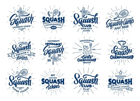 Set of vintage Squash emblems and stamps. Sport blue badges, stickers on white background with rays. Collection of retro logos with hand-drawn text, phrases. Vector illustration. Logo