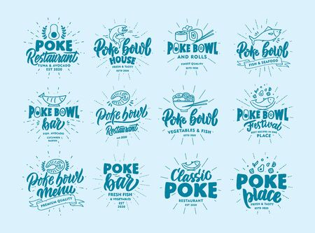 Set of vintage Poke bowl emblems and stamps. Fish bar badges, stickers on blue background with rays. Collection of retro logos with hand-drawn text, phrases. Vector illustration. Archivio Fotografico - 142657743