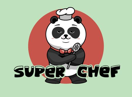 Super chef logo, cooking template, the hero proudly folded his paws. Funny panda character, logotype, badge, sticker, emblem, label with hand-drawn text, phrase. Vector illustration