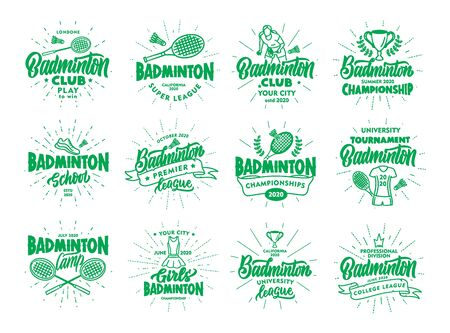 Set of vintage Badminton emblems and stamps. Green badges, stickers on white background isolated with rays. Collection of retro logos with hand-drawn text, phrases. Vector illustration