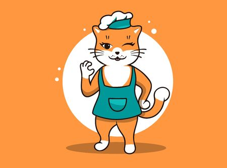 Best chef Cat logo, cooking template. Funny kitty character, logotype, badge, sticker, emblem, label on orange background. Vector illustration