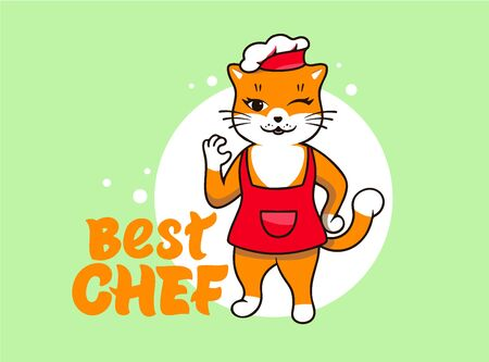 Best chef Cat logo, cooking template. Funny kitty character, logotype, badge, sticker, emblem, label on green background with hand-drawn text, phrase. Vector illustration Ilustracja