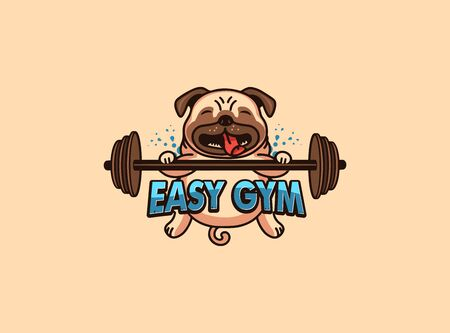 Sport and emblem. Easy gym badge, sticker, label on beige background isolated