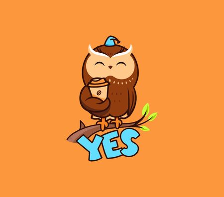 The cute owl with a cup of coffee, sitting on a branch, with the text YES Illustration