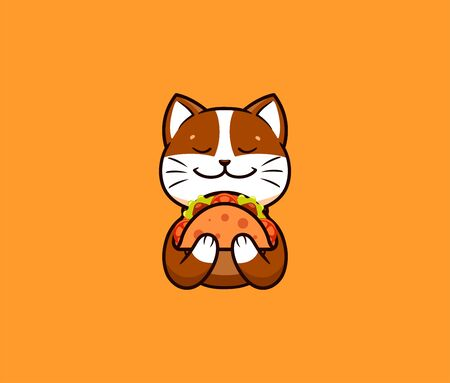 The logo funny cat eats taco. Cute animal, cartoon character, food logotype