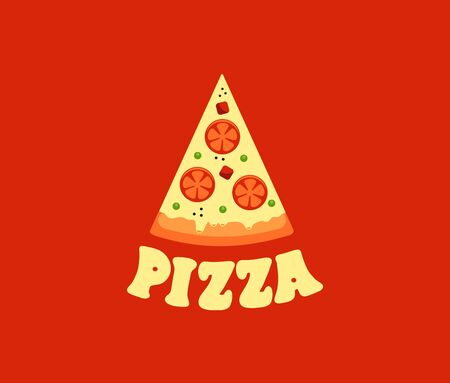 The food logo pizza. Fast food logotype, badge, sticker Vettoriali