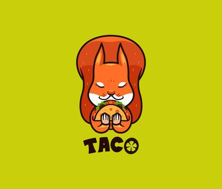 The logo funny squirrel eats taco. Cute wild animal, cartoon character