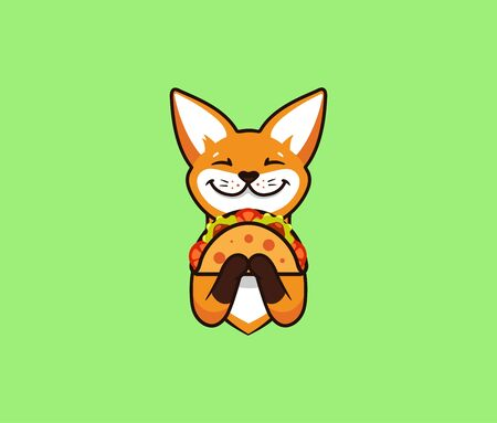 The  funny fox eats taco. Cute foxy, cartoon character, food , badge, sticker, emblem on green background. Vector illustration, flat, line art style, creative design Vettoriali