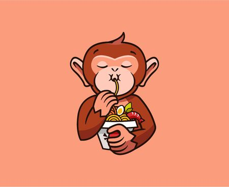 The  funny monkey eats noodles. Food , cute animal macaque, cartoon character, badge, sticker, emblem on coral background. Vector illustration, flat, line art style, creative design