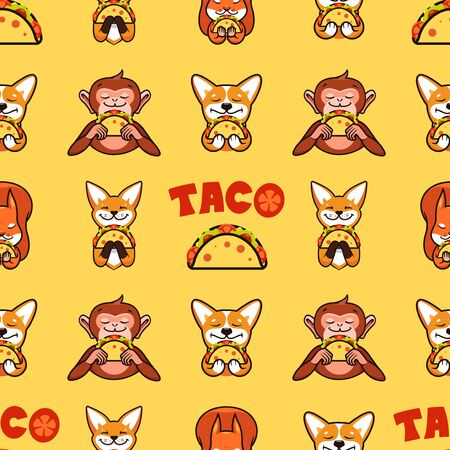 Taco seamless pattern, texture, print, surface with text. Mexican food on yellow background isolated. Vector illustration, flat, line art style, creative design Archivio Fotografico