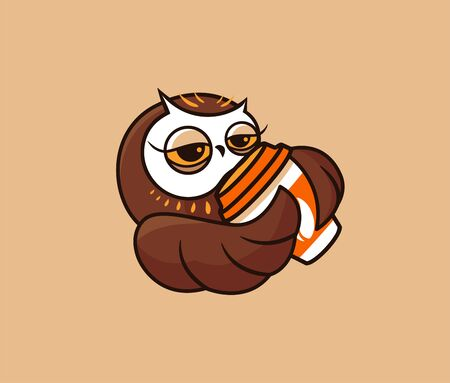 The   funny owl with coffee. Food logotype, cute bird, cartoon character