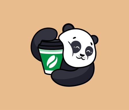 The   funny panda with coffee. Food logotype, cute anima